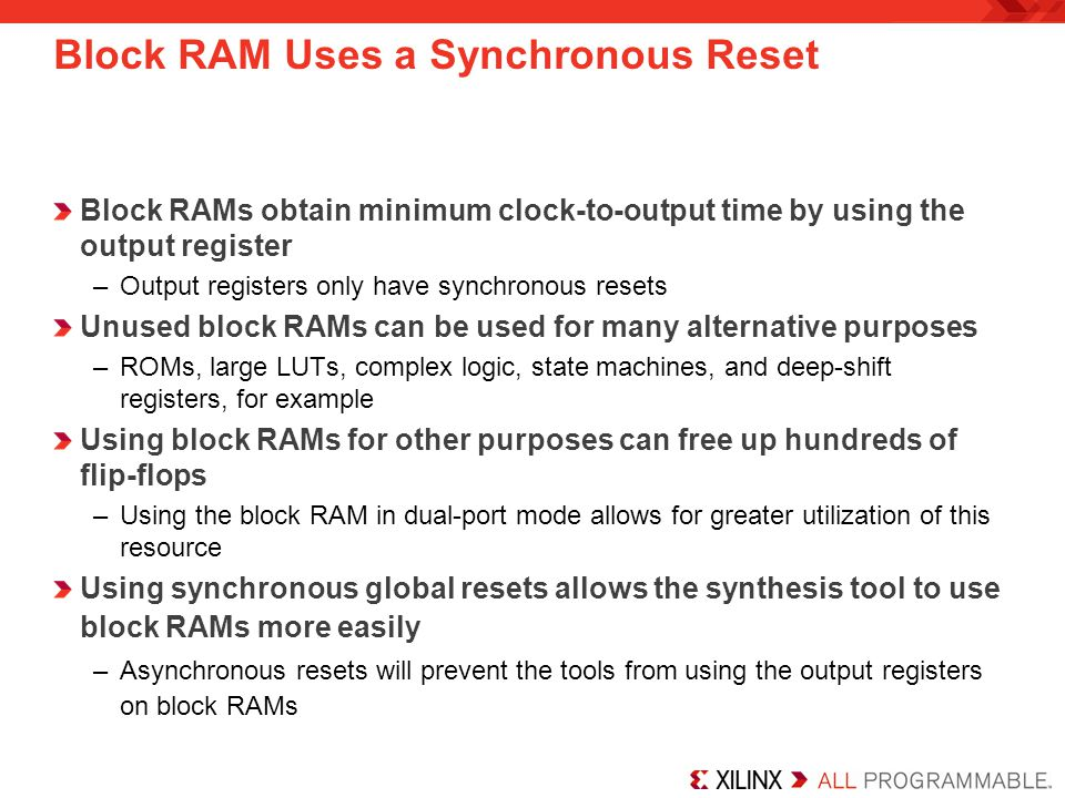 Block RAM Uses a Synchronous Reset