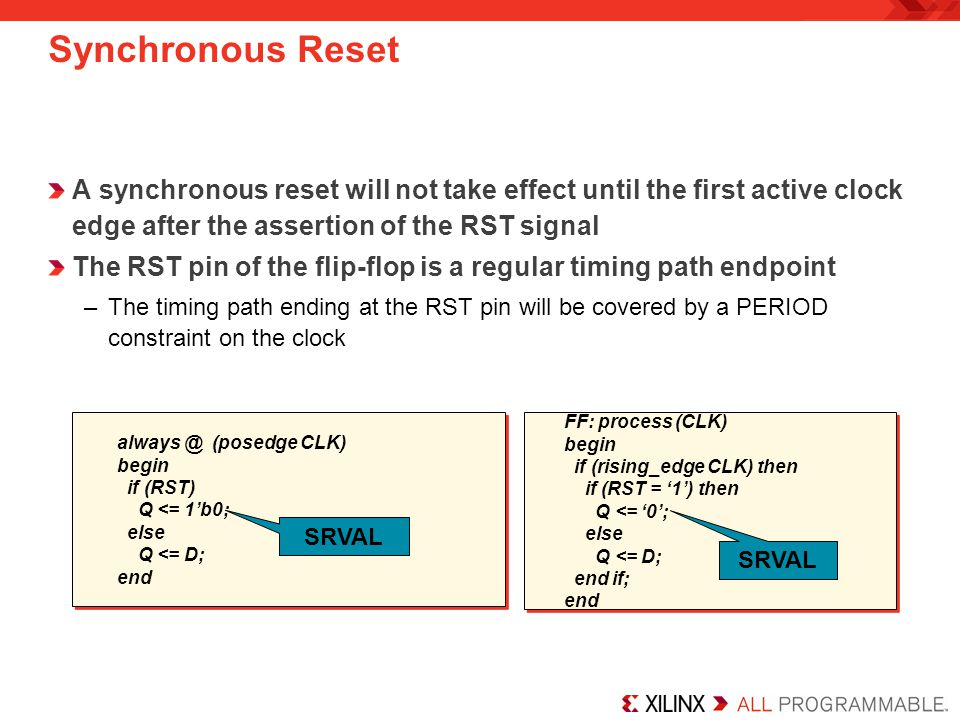 Synchronous Reset A synchronous reset will not take effect until the first active clock edge after the assertion of the RST signal.