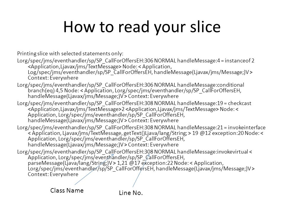 How to read your slice Class Name Line No.