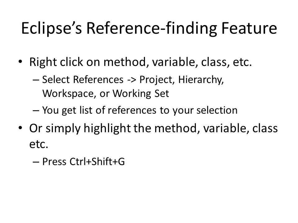Eclipse's Reference-finding Feature