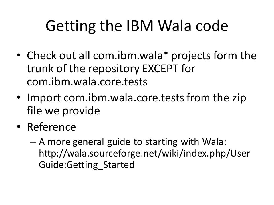 Getting the IBM Wala code