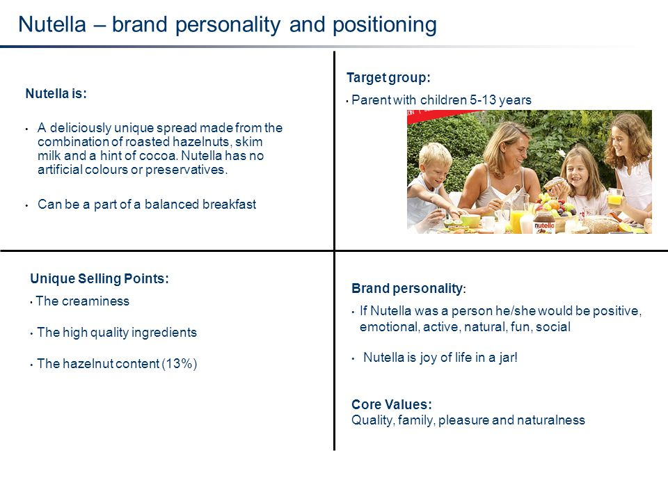 Nutella – brand personality and positioning