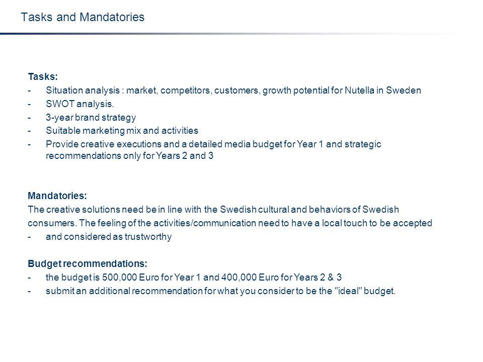 Tasks and Mandatories Tasks: