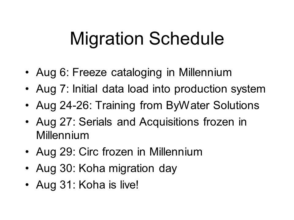 Migration Schedule Aug 6: Freeze cataloging in Millennium