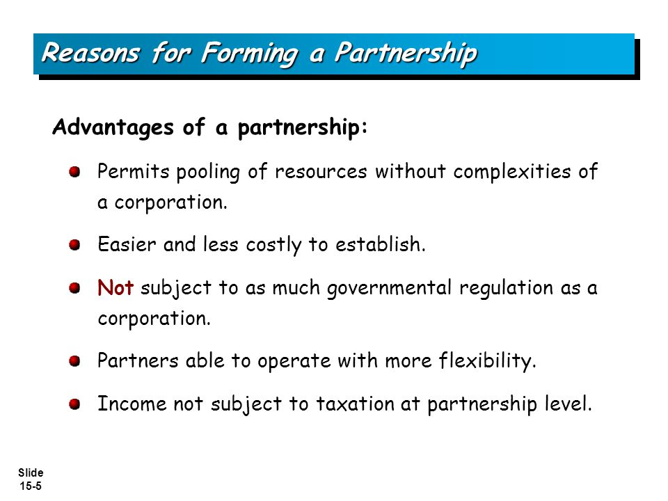 Reasons for Forming a Partnership