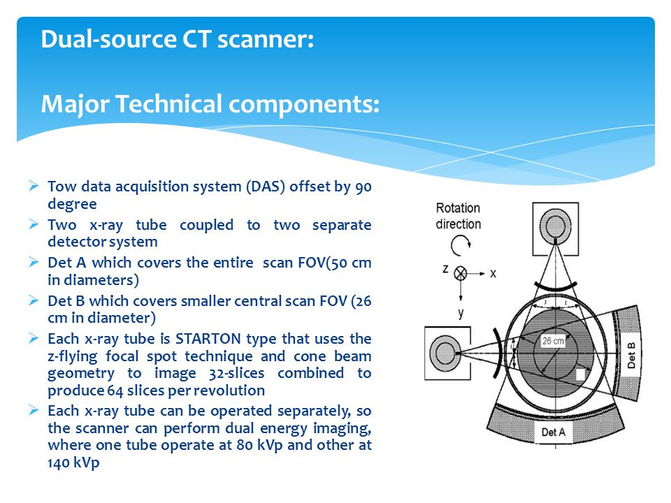 Dual-source CT scanner: Major Technical components: