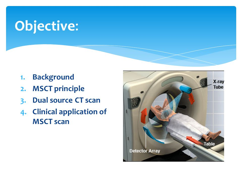 Objective: Background MSCT principle Dual source CT scan