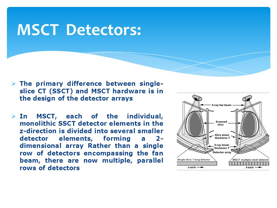 MSCT Detectors: The primary difference between single-slice CT (SSCT) and MSCT hardware is in the design of the detector arrays.