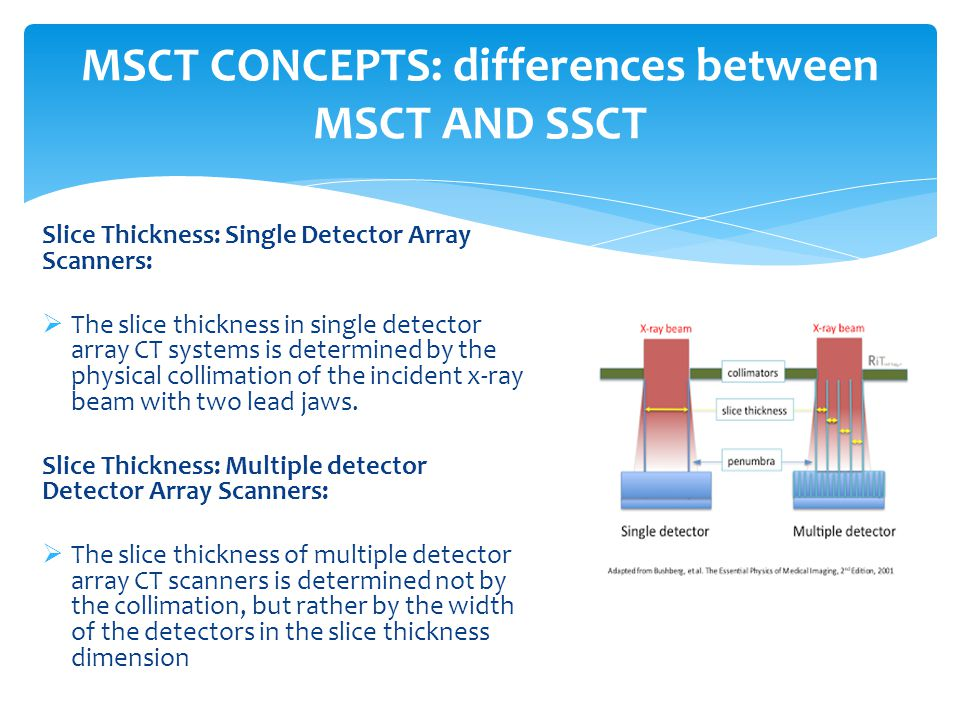 MSCT CONCEPTS: differences between MSCT AND SSCT