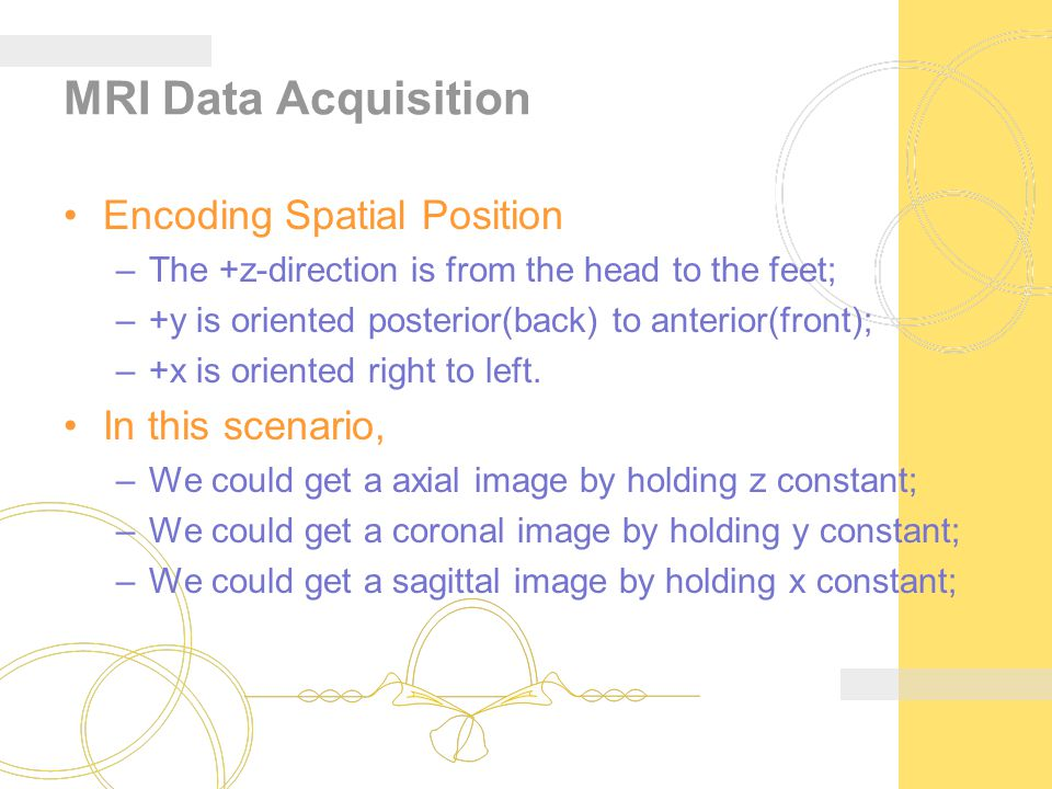 MRI Data Acquisition Encoding Spatial Position In this scenario,