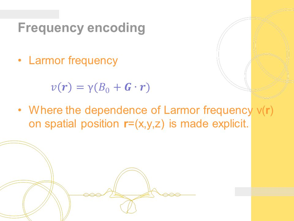 Frequency encoding Larmor frequency