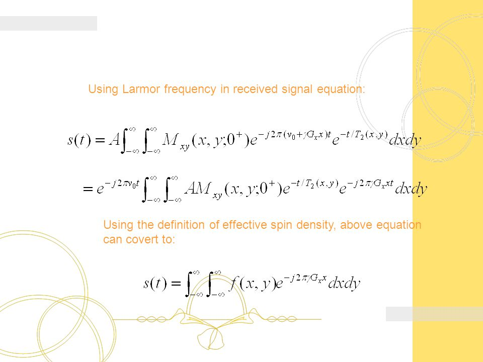 Using Larmor frequency in received signal equation: