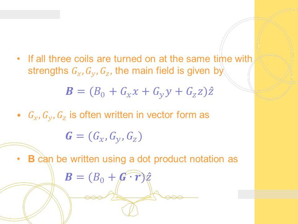𝑩=( 𝐵 0 + 𝐺 𝑥 𝑥+ 𝐺 𝑦 𝑦+ 𝐺 𝑧 𝑧) 𝑧 𝑮=( 𝐺 𝑥 , 𝐺 𝑦 , 𝐺 𝑧 ) 𝑩=( 𝐵 0 +𝑮∙𝒓) 𝑧