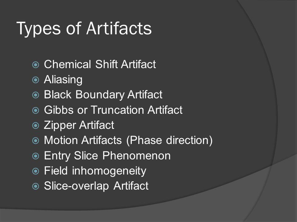 Types of Artifacts Chemical Shift Artifact Aliasing