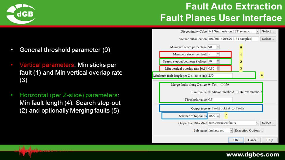 Fault Auto Extraction Fault Planes User Interface