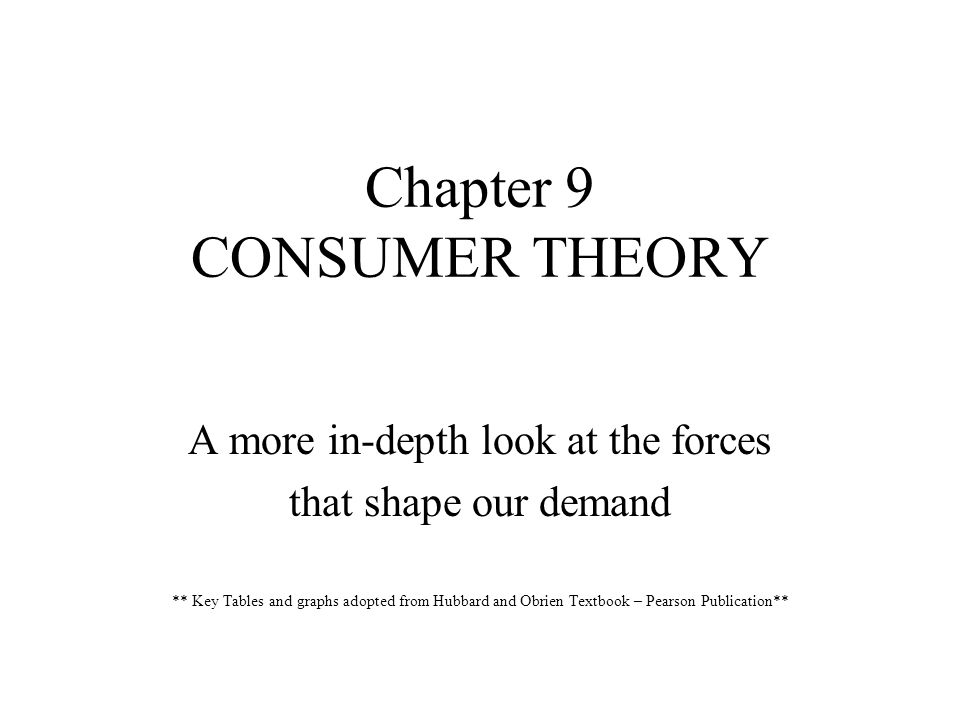 Chapter 9 CONSUMER THEORY