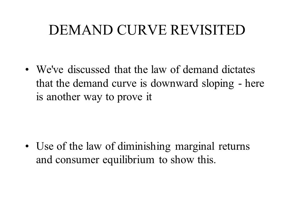 DEMAND CURVE REVISITED