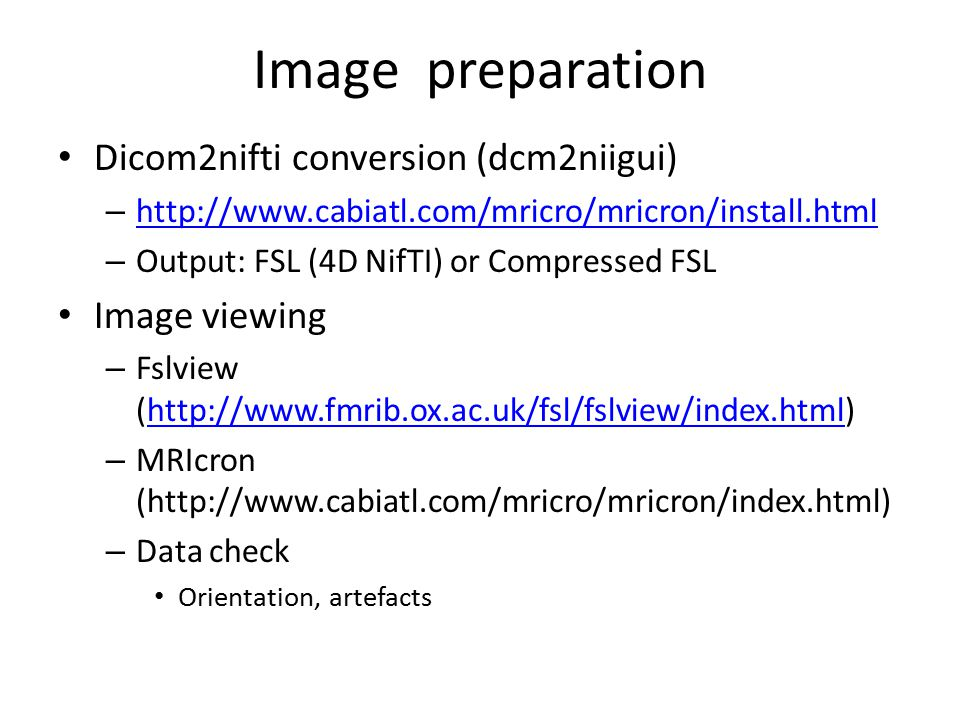 Image preparation Dicom2nifti conversion (dcm2niigui) Image viewing