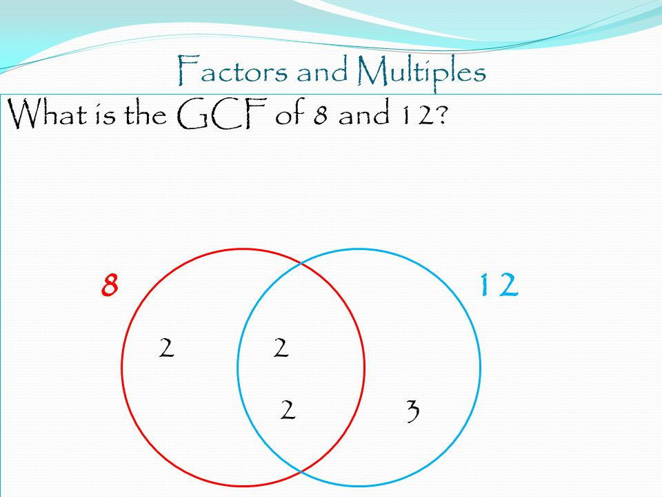 Factors and Multiples What is the GCF of 8 and 12 8 12 2 2 2 3