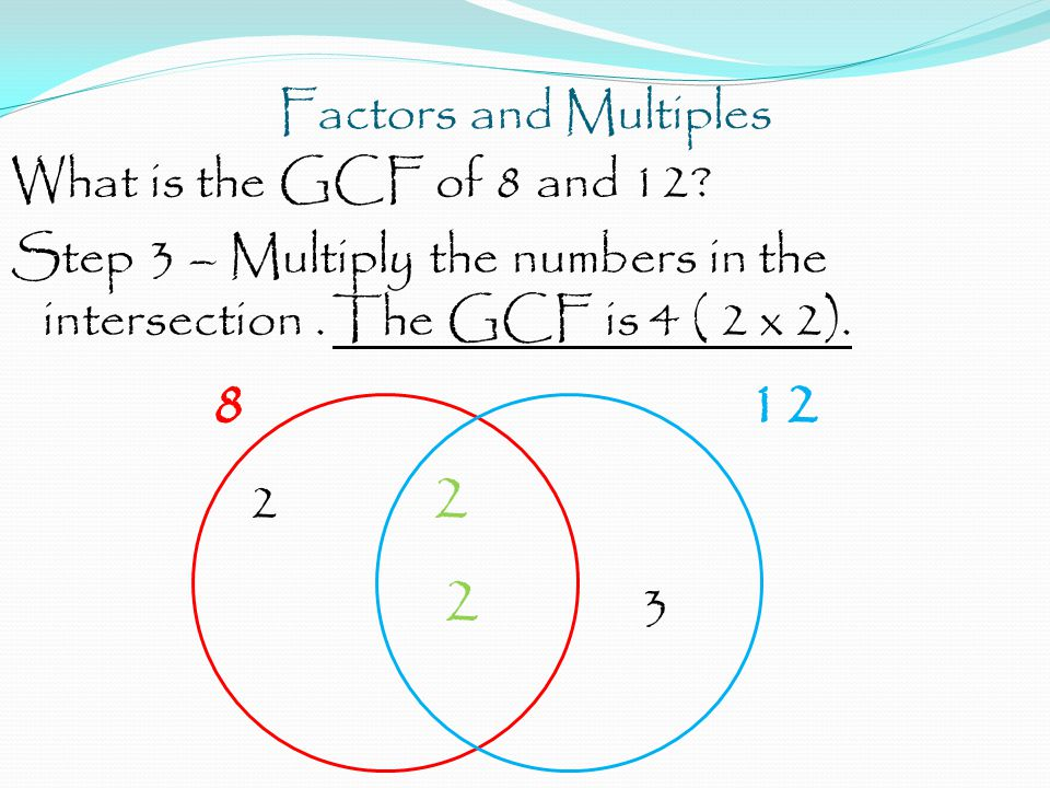 Factors and Multiples What is the GCF of 8 and 12.