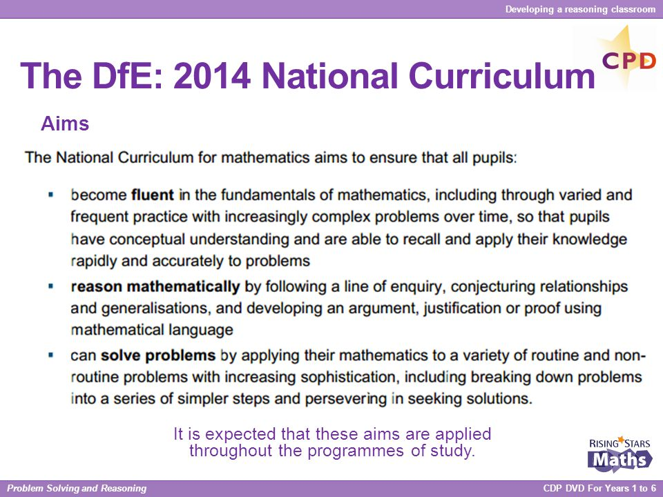 The DfE: 2014 National Curriculum