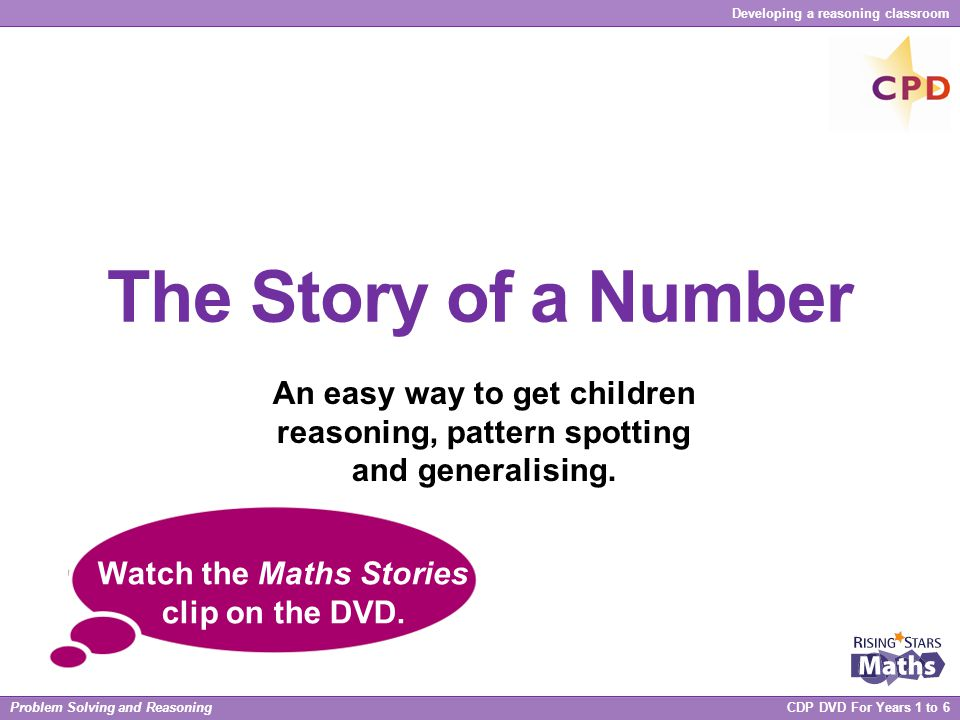 Watch the Maths Stories clip on the DVD.