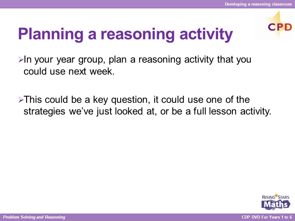 Planning a reasoning activity