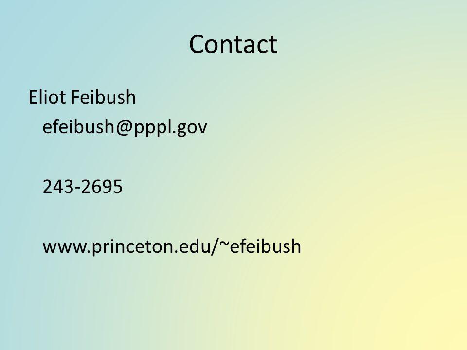 Contact Eliot Feibush efeibush@pppl.gov 243-2695 www.princeton.edu/~efeibush