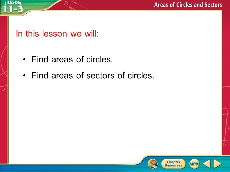 Find areas of sectors of circles.