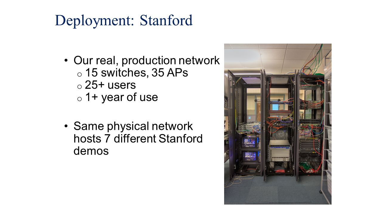 Deployment: Stanford Our real, production network 15 switches, 35 APs