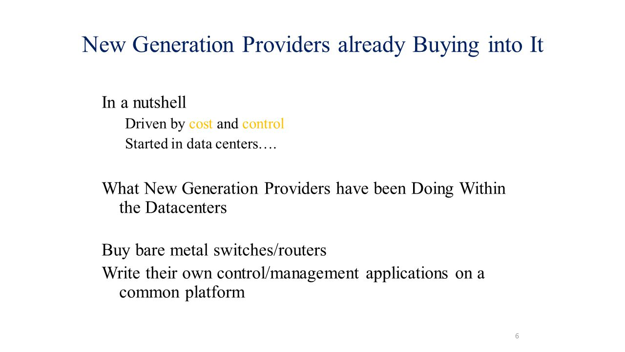 New Generation Providers already Buying into It