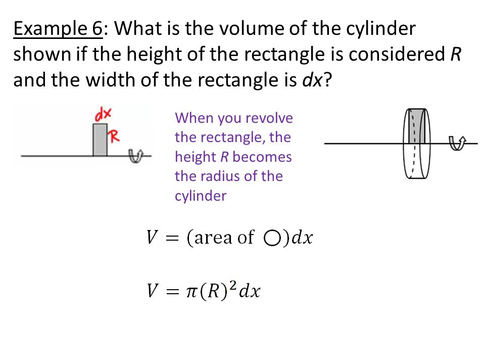Example 6: What is the volume of the cylinder shown if the height of the rectangle is considered R and the width of the rectangle is dx