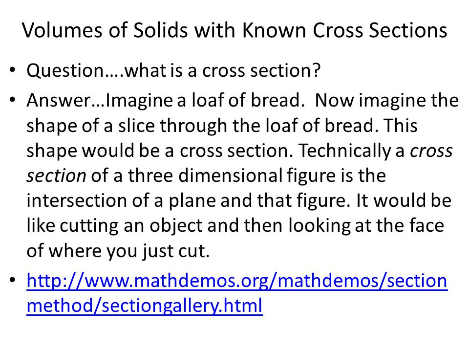 Volumes of Solids with Known Cross Sections