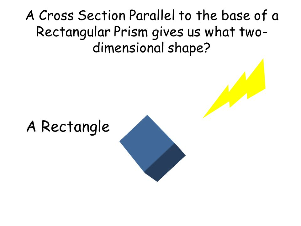 A Cross Section Parallel to the base of a Rectangular Prism gives us what two- dimensional shape