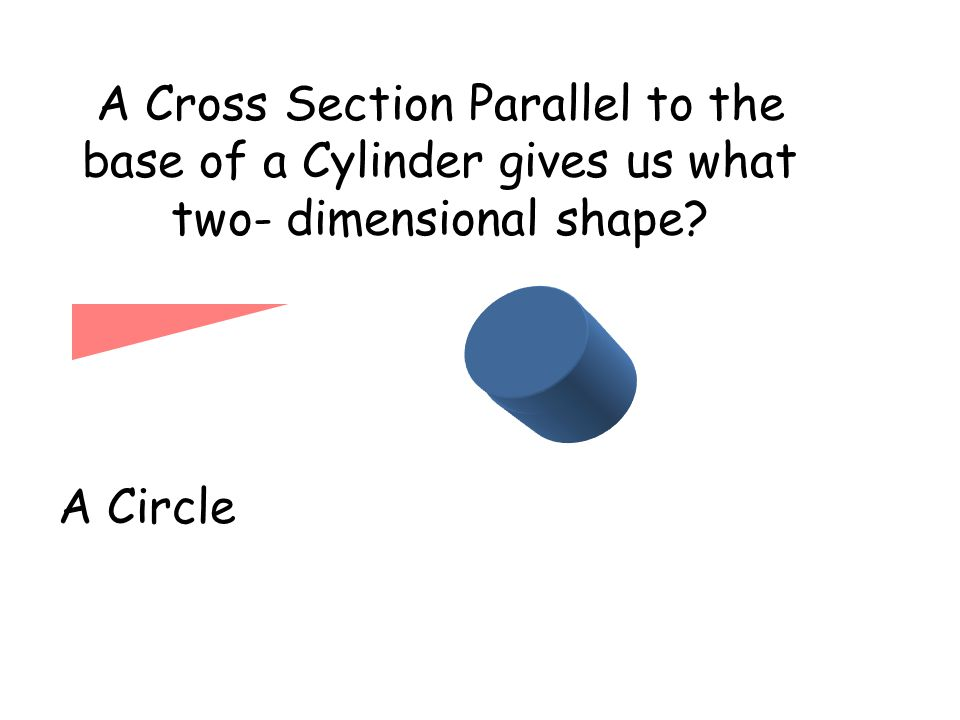 A Cross Section Parallel to the base of a Cylinder gives us what two- dimensional shape