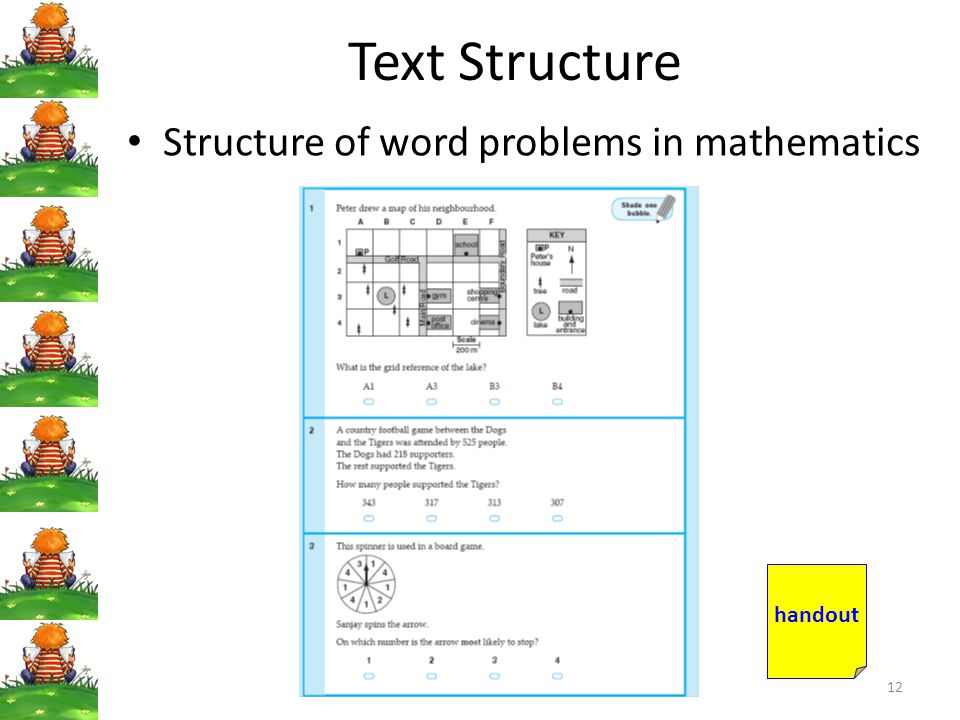 Text Structure Structure of word problems in mathematics handout