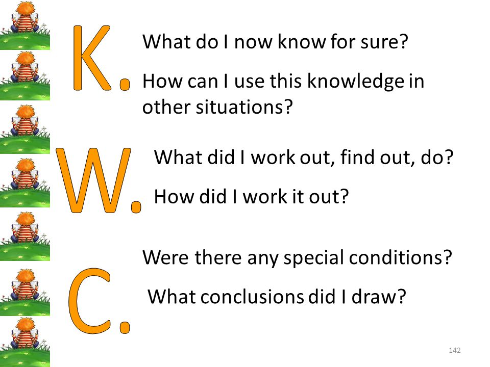 K. W. C. What do I now know for sure