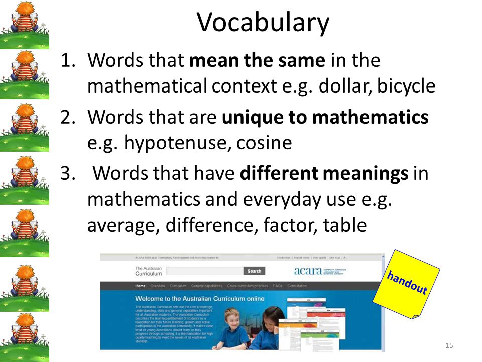 Vocabulary Words that mean the same in the mathematical context e.g. dollar, bicycle. Words that are unique to mathematics e.g. hypotenuse, cosine.
