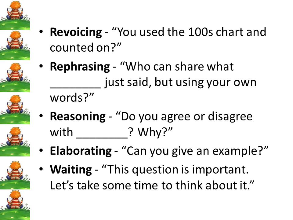 Revoicing - You used the 100s chart and counted on