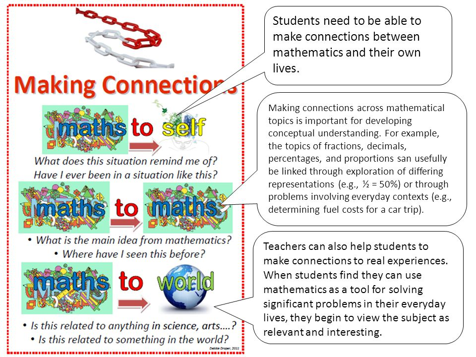 Students need to be able to make connections between mathematics and their own lives.