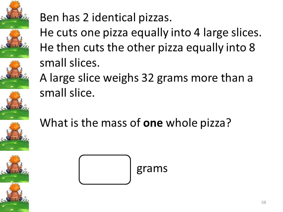 Ben has 2 identical pizzas.