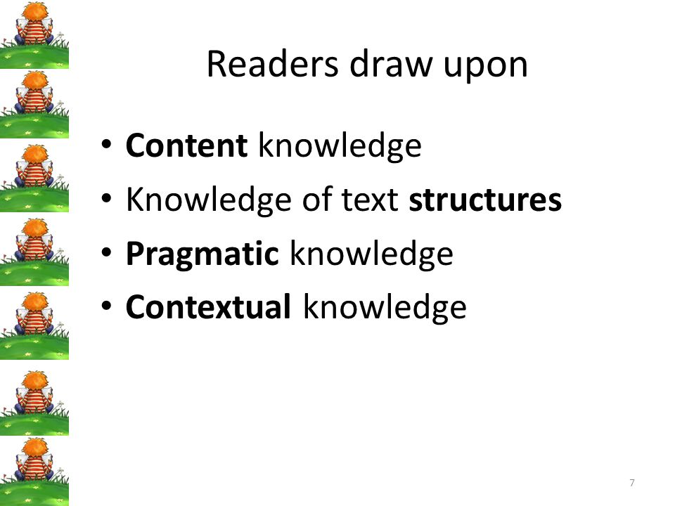 Readers draw upon Content knowledge Knowledge of text structures