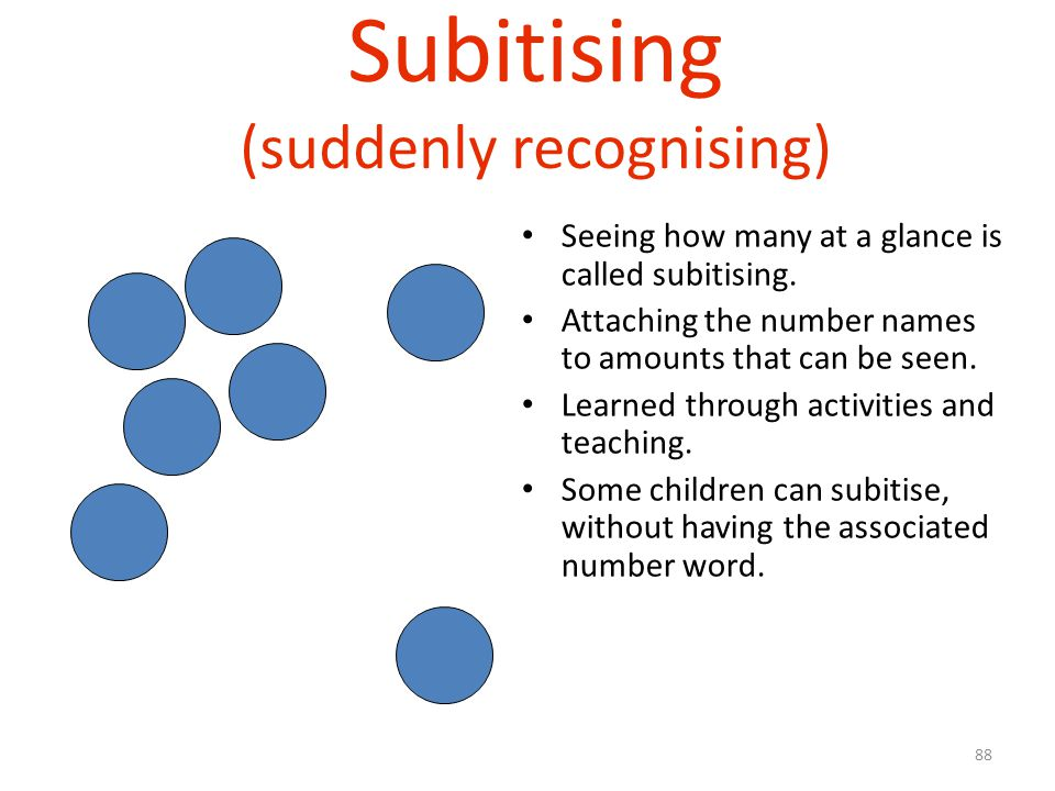Subitising (suddenly recognising)