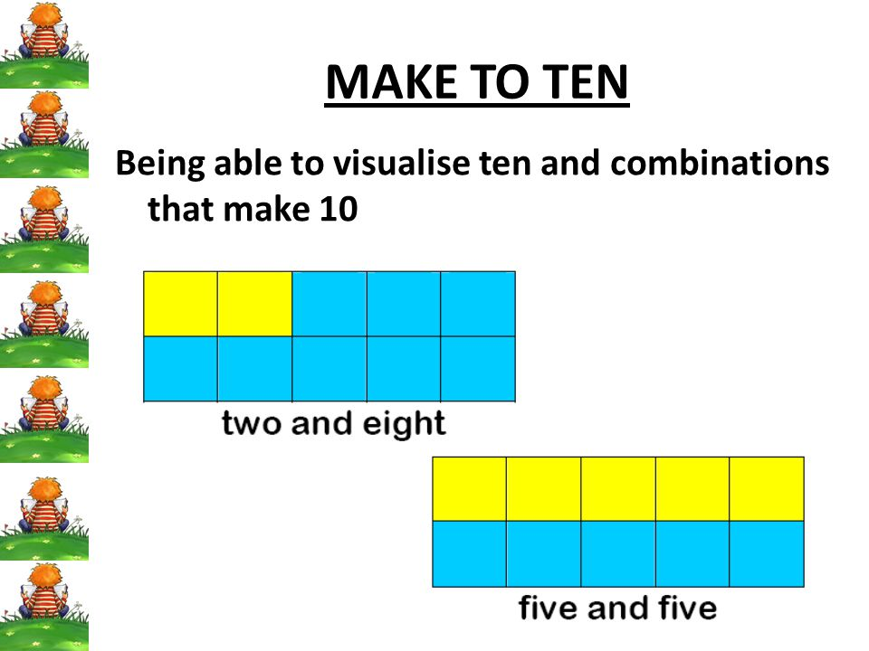 MAKE TO TEN Being able to visualise ten and combinations that make 10