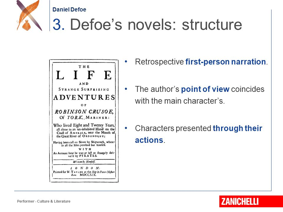 3. Defoe's novels: structure