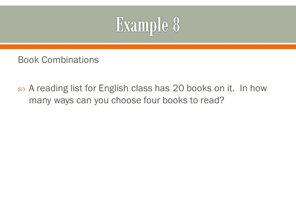 Example 8 Book Combinations