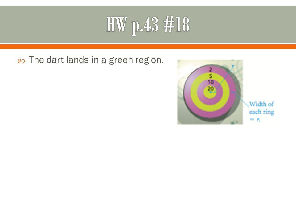 HW p.43 #18 The dart lands in a green region.