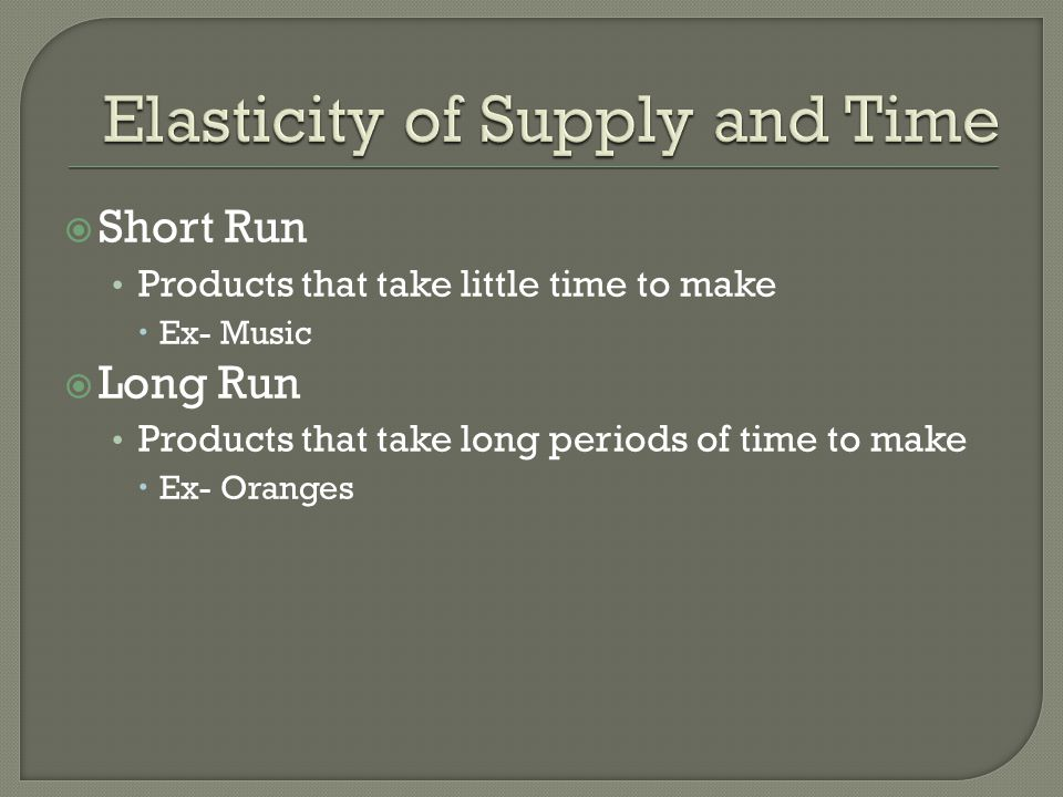 Elasticity of Supply and Time