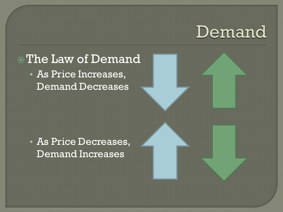 Demand The Law of Demand As Price Increases, Demand Decreases