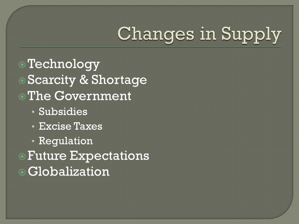 Changes in Supply Technology Scarcity & Shortage The Government